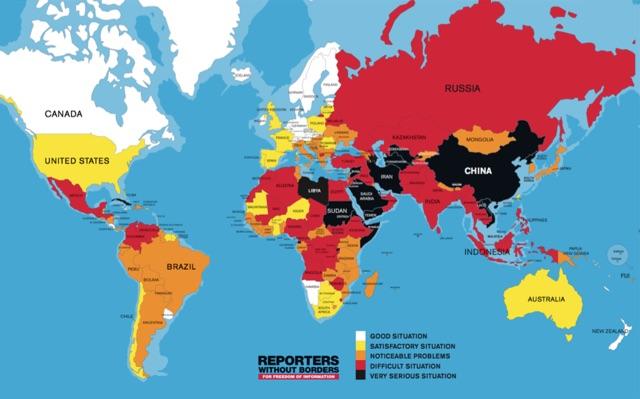 Pressfrihetskartan för 2016. Karta: Reportrar utan gränser