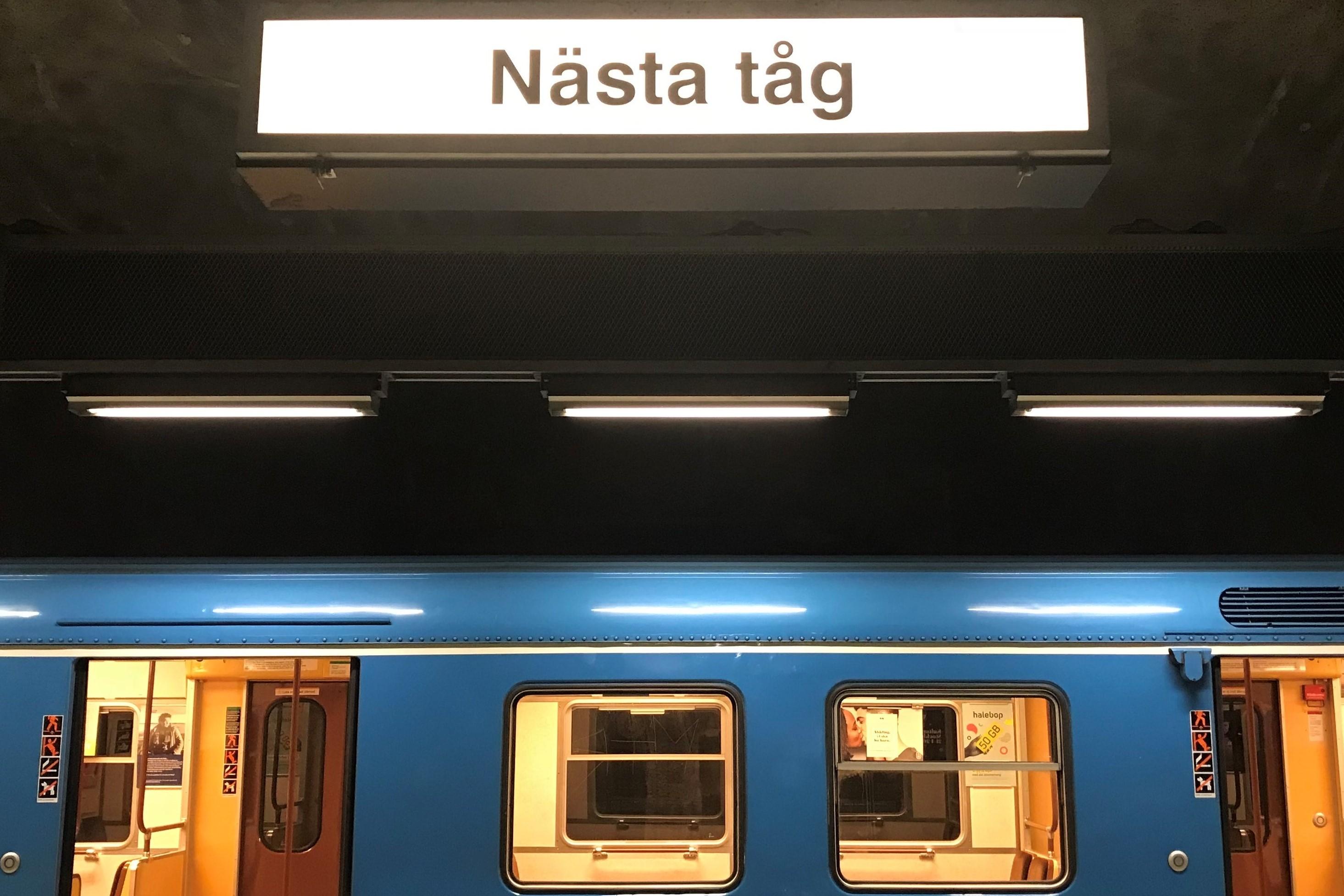 Perrong, nästa tunnelbanetåg