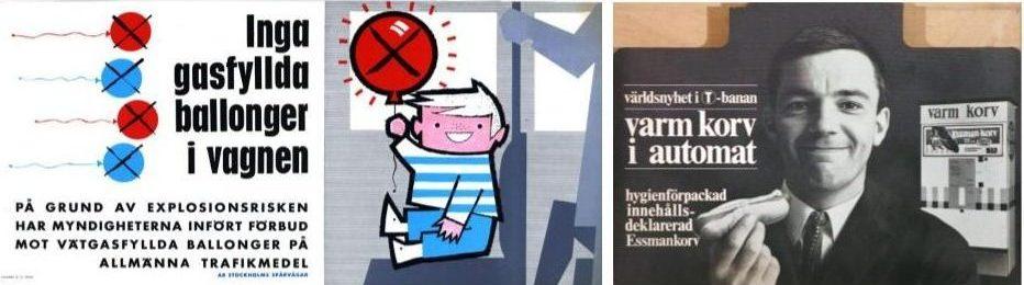 60-talsannons från Stockholms Spårvägar om ballongförbud samt 60-talsannons om korv i automat (Essmans). (Bilder från Spårvägsmuseet.)