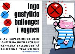 1960-talsannons från Stockholms Spårvägar om ballongförbud i kollektivtrafiken. (Från Spårvägsmuseet.)
