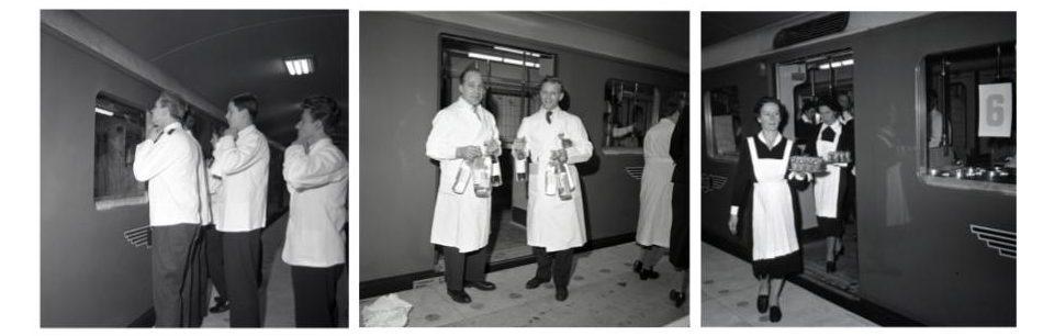 på Centralen (nuvarande T-Centralen). Fotografier från Spårvägsmusee föreställande serveringspersonal som tjänstgjorde på den taklagsfest som Stockholms Spårvägar arrangerade den 23 november 1957.