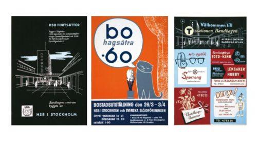 Annonser från HSB från 1950- och 1960-talet. (Från Spårvägsmuseet.)