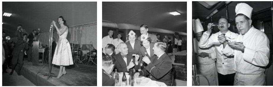 Fotografier från Spårvägsmuseet från den taklagsfest som Stockholms Spårvägar arrangerade på Centralen (nuvarande T-Centralen) den 23 november 1957.