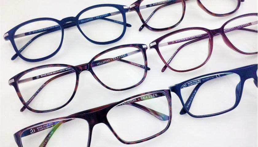 Sex par glasögonbågar i olika färger och former