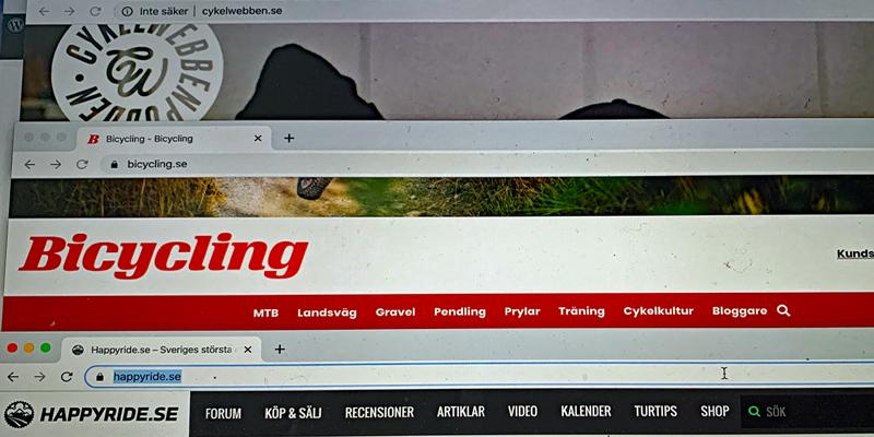 visar webbsidorna cykelwebbenpodden.se, bicycling.se och happyride.se